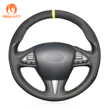 MEWANT Black Genuine Leather Suede Hand Sew Car Steering Wheel Cover for Infiniti Q50 2014 2015 2016 2017 QX50 2015 2016 2017