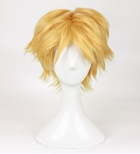 High Quality Anime Lady bug Adrien Cat Noir Wigs Golden Blonde Heat Resistant Synthetic Hair Cosplay Wig + Wig Cap