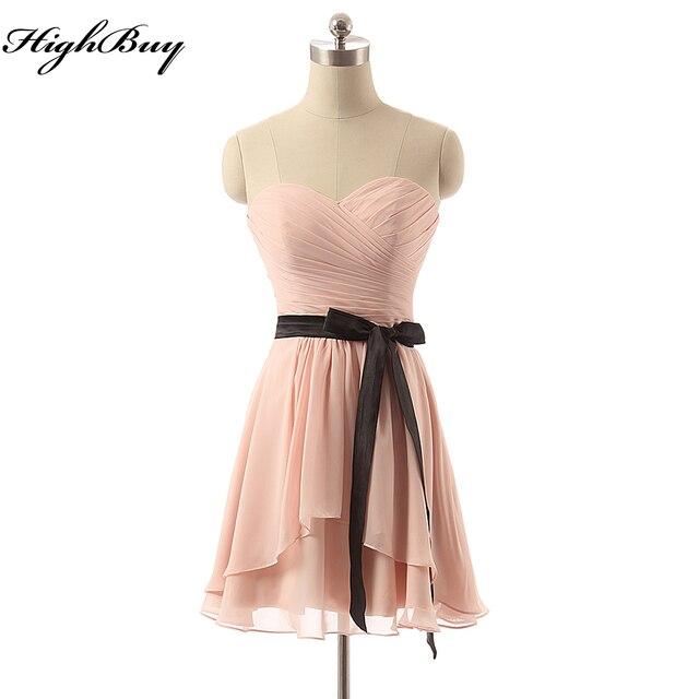 14237b59aba HighBuy Cheap Short Bridesmaid Dresses with Sashes 2017 Vestido Madrinha  Casamento Plus Size Handmade Retro Homecoming Dress