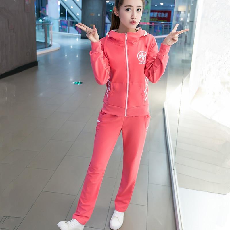 2 red Costume Casual Ensembles Capuche grey Pink Automne Pièce Printemps Taille Wyf27 Survêtement À Sportwear sweat Plus Pantalon Fit 2017 Mode Impression Femme 1Zr1wBOn5W