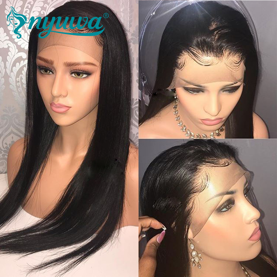 Elva Hair 180% Density 360 Lace Frontal Wig Pre Plucked Natural Hairline Straight Brazilian Remy Hair 360 Lace Wig Natural Color