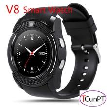 Original reloj deportivo completo partido pantalla smart watch v8 para android smartphone apoyo tf tarjeta sim bluetooth smartwatch dz09 pk