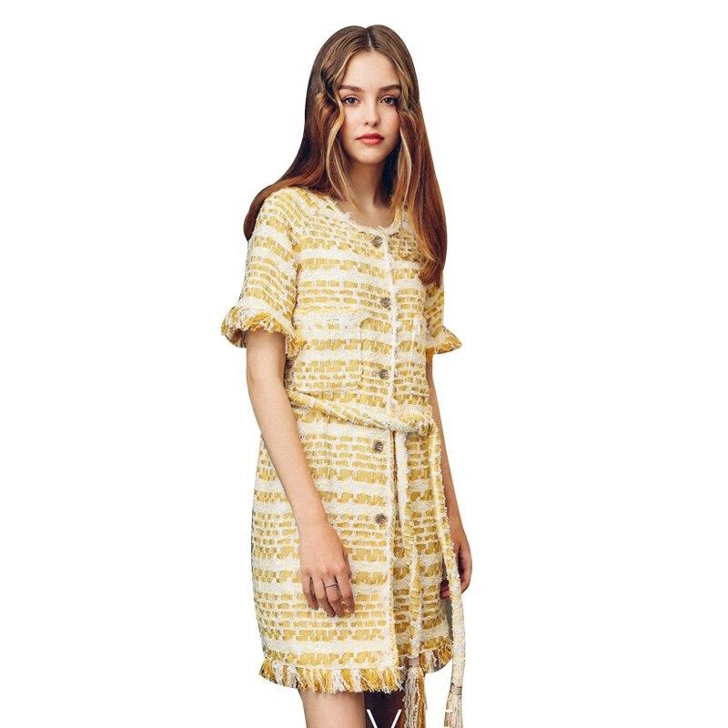 Femmes Automne Droite Haute Genou De Qualité Ceinture Du Manches Doux Robe Court Jaune Dessus Conception Dame Printemps Avec q57FI7U