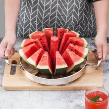 Kitchen Stainless Steel Cutter Round Fruit Cutting Machine Tools Watermelon Slicer Silver