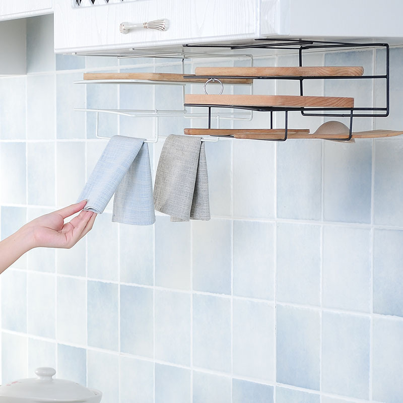 Image 2 - Kitchen Double Layer towel rack hanging holder Cabinets Shelf Chopping Board Storage Rack Hanger Shelf Kitchen Accessories-in Racks & Holders from Home & Garden