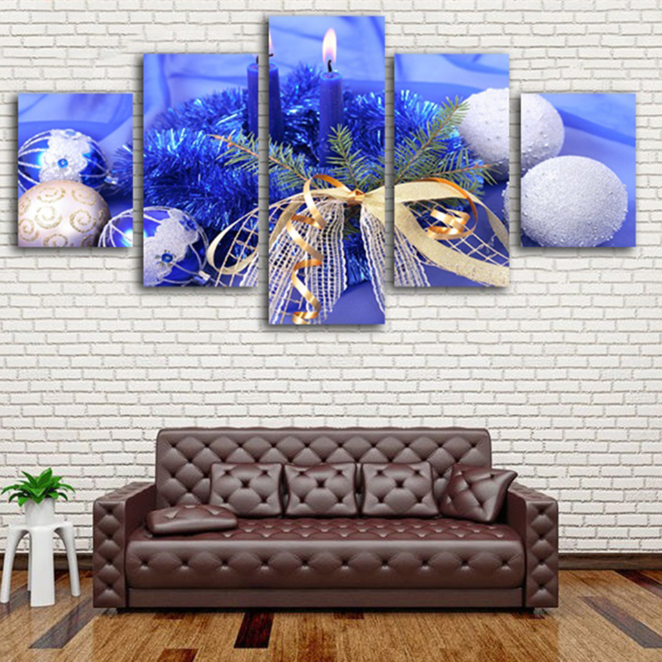 Wall Artwork Framework Fashion Home Decoration New Year Special Gifts Modular Picture 5 Panels Blue Christmas Painting On Canvas