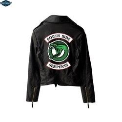BF 2019 nowy druku Riverdale PU druku Logo Southside Riverdale węże kurtka kobiety Riverdale węże Streetwear skórzana kurtka 5