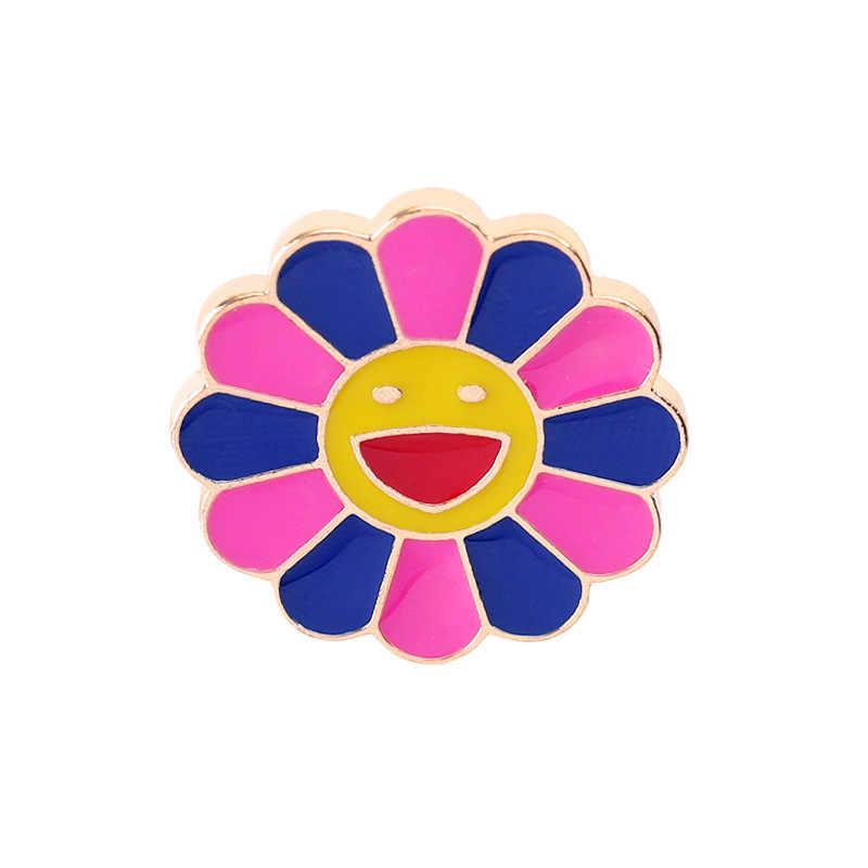 4 шт., семь цветов, Броши со смайликом для лица, эмалированная булавка, джинсовое пальто, рюкзак, нагрудные кнопки, значки для девочек, украшения, подарки