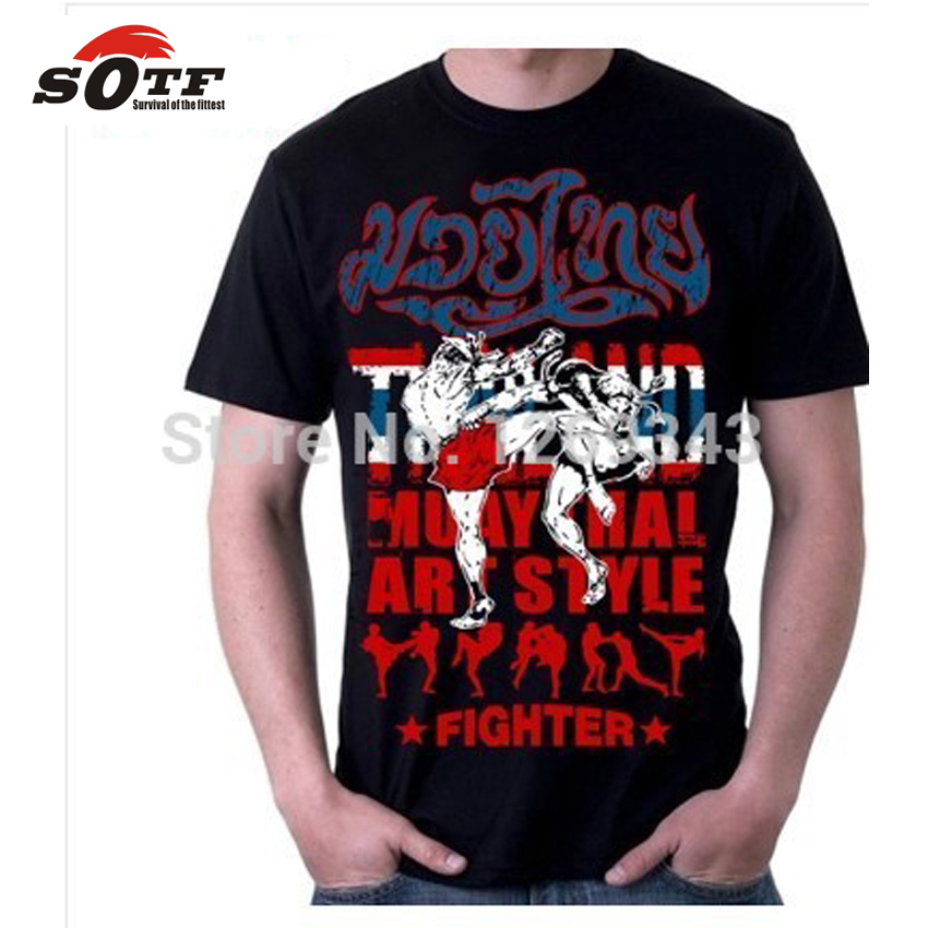SOTF Free Shipping Shirt Muay Thai Short Sleeve Shirt T-shirt Male King Clothes