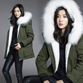 Thick Parkas 2016 Autumn and Winter Fashion Large Fur Collar Black Cotton-padded Jacket Long-sleeved Hooded Outwear Female Coats