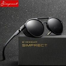 SIMPRECT Steampunk Round Sunglasses Men Polarized High Quali