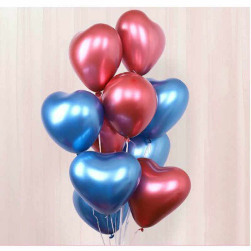 BRIDAY 1/5/10pcs Heart Glossy Metal Latex Balloons Thick Chrome Metallic Ballon  Valentine's Day Party Decorations@2