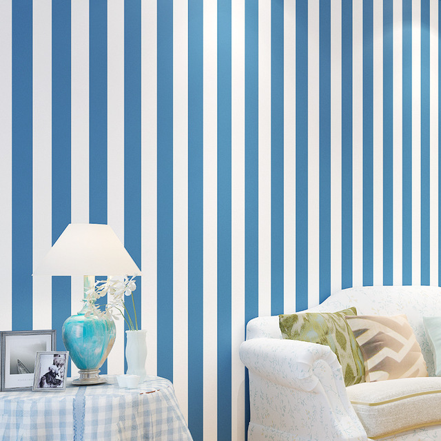 Beibehang Blue Striped Wallpaper Flocking For Kids Room Vertical Stripe Wall Paper Bedroom Background