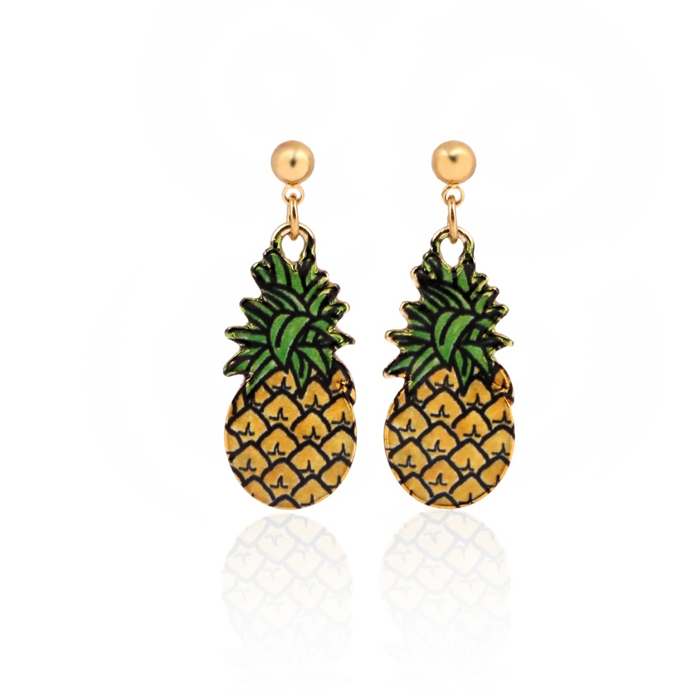 2016 Hot Sale Summer Style Minimalist Jewelry Hand Drawing Colorful Enamel Gold Pineapple Hanging Dangle Earrings for Women