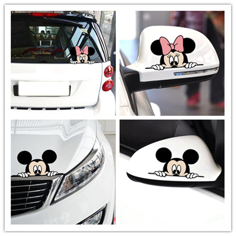 Image 2 - Funny and cute cartoon characters stickers Mickey car Minnie car stickers fancy style decals decorative car 14*8-in Car Stickers from Automobiles & Motorcycles