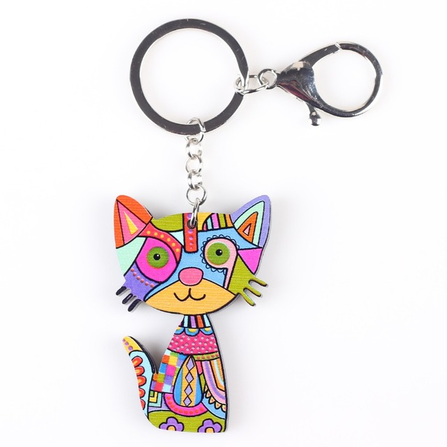 a46e23e7a8 Bonsny Cat Keychain Key Ring New 2018 Acrylic Pattern Cute Animal Fashion  Jewelry For Women Car Key Holder Accessories Bijoux