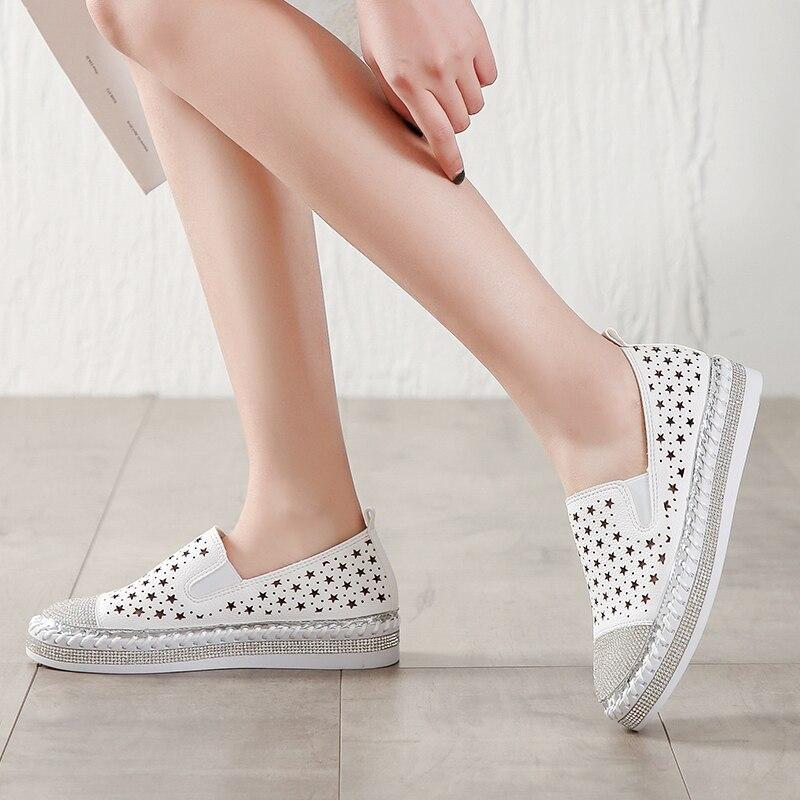 6376b9d4691a94 Respirant 2019 Cristaux Fletiter White Pour Femmes Mode D'été Espadrilles  Dames Mocassins Creepers Chaussures 8k0OXnwP