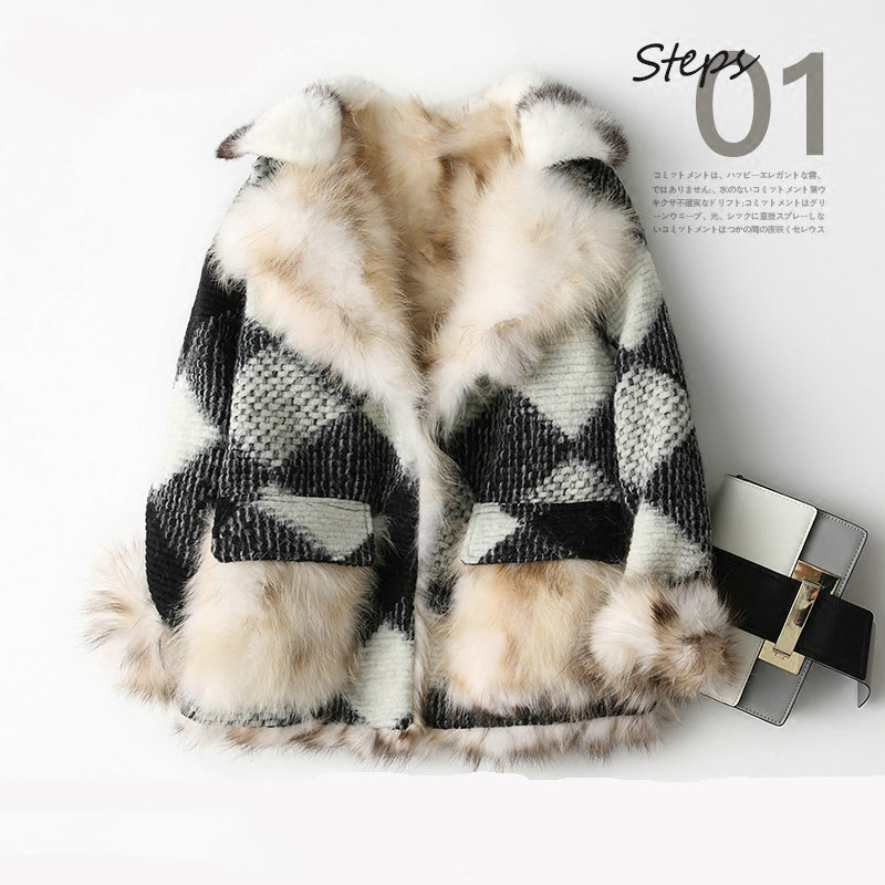 Real 100% Fox fur coat natural fur coat spliced female women's jacket Women's winter jacket real fur women's fur coats mex