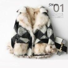 Real 100% Fox fur coat natural fur coat spliced female womens jacket
