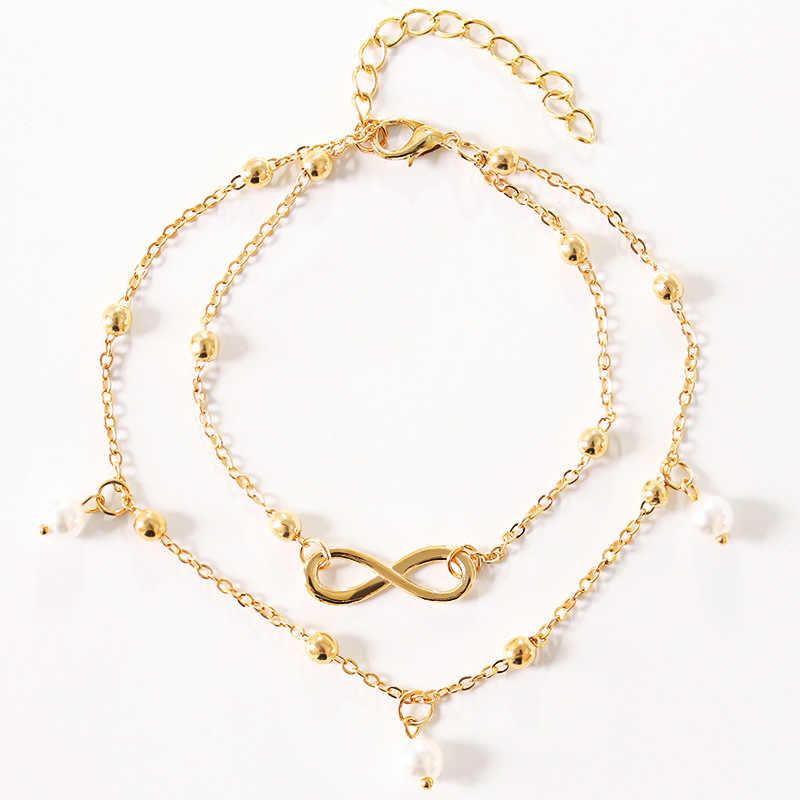 แฟชั่นโบฮีเมียนวินเทจ Rhinestone Anklets สำหรับผู้หญิง Link คางทองเงินสี Boot Chain สร้อยข้อมือเครื่องประดับ