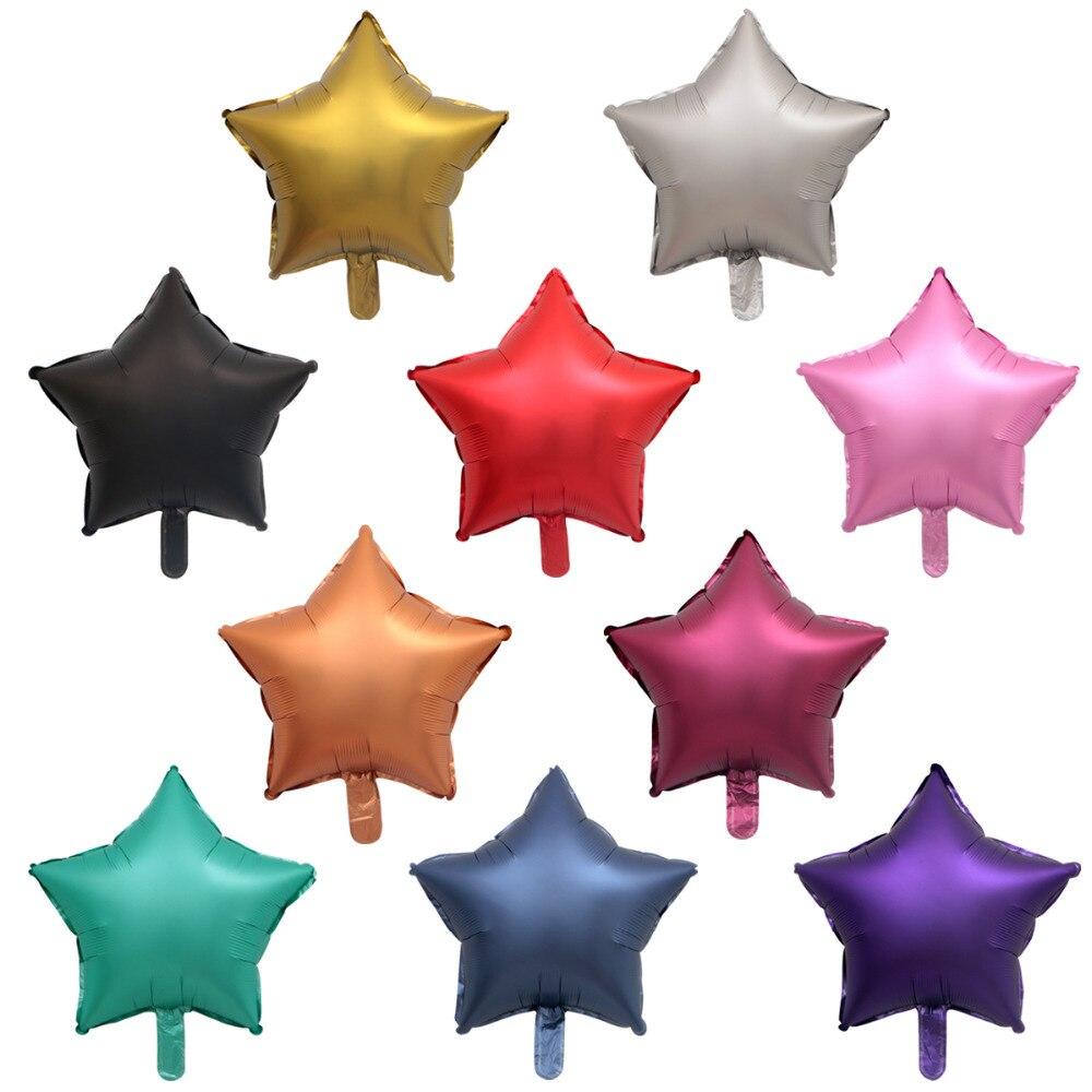 Металлический шар из хромированной фольги, 50 шт./лот, 18 дюймов, в форме сердца и звезд, круглые матовые гелиевые шары для украшения дня рождения, свадьбы, вечеринки-1