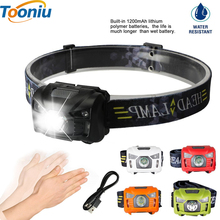 Tooniu 5W LED Body Motion Sensor Headlamp Mini Headlight Rechargeable Outdoor Camping Flashlight Head Torch Lamp With USB