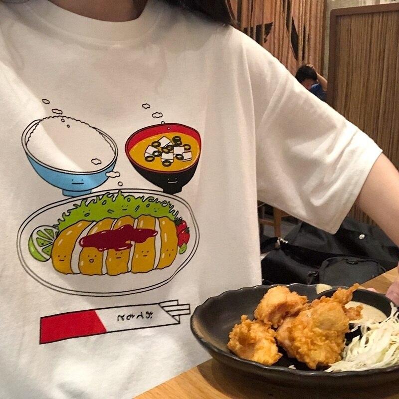 Hahayule-jbh Japanischen Tonkatsu Curry Reis T-shirt Kawaii Mode Harajuku Stil Übergroßen T Angemessener Preis Frauen Kleidung & Zubehör T-shirts