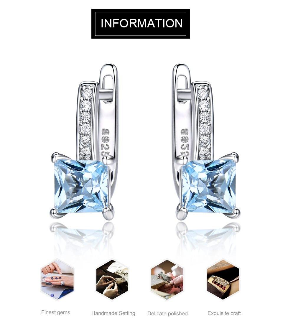 1e58b8cf41c3 UMCHO cielo azul Topacio piedras preciosas pendientes de Clip ...