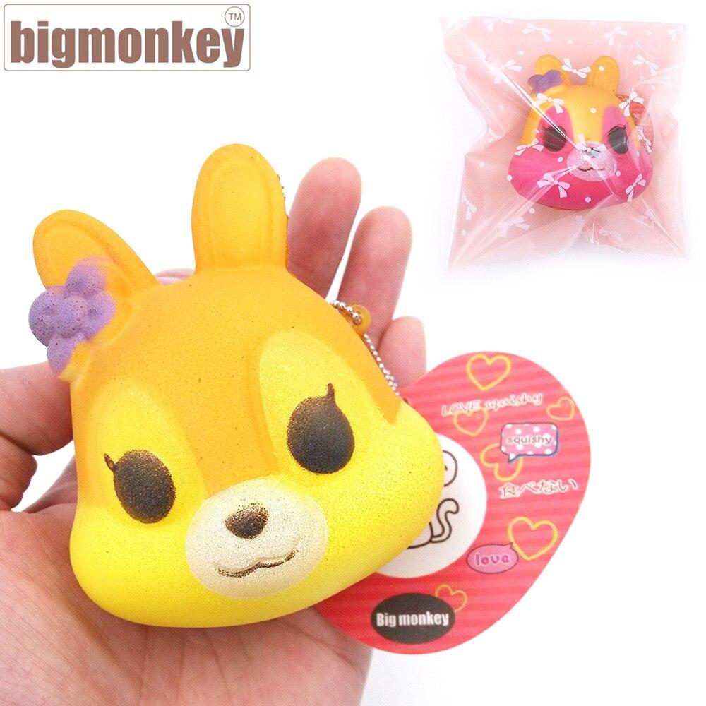 imágenes para Mono grande 20 unids/lote, 8.5 cm PU suave pequeña flor Linda Fox Encanto Blando/Decoraciones Del Bolso/Descompresión juguetes