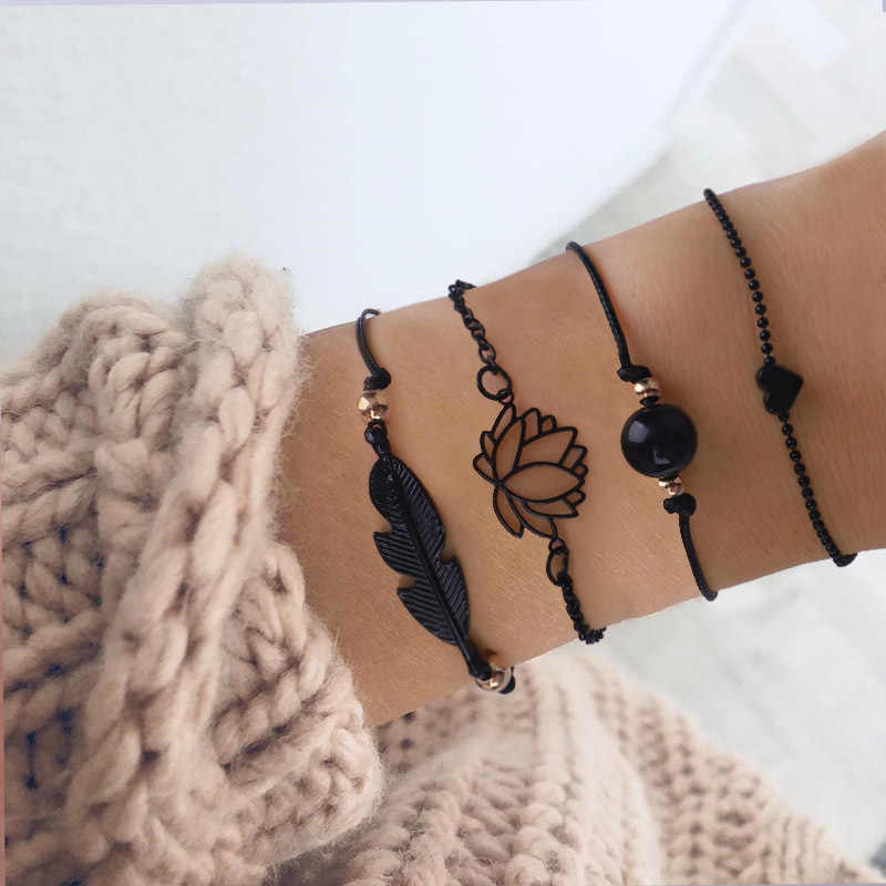 Black Lotus flower Heart Leaf Bracelets set For Women Charm Chain hand Jewelry Girl Gift DropShipping