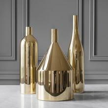 Modern Gold Plated Ceramic Vase