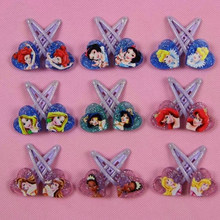 10 Pcs/lot Lovely Pincess Series Cartoon Snow White Princess Ariel Cinderella Hair Pin Hair Clip for Girls Gift Toy Figure(China)