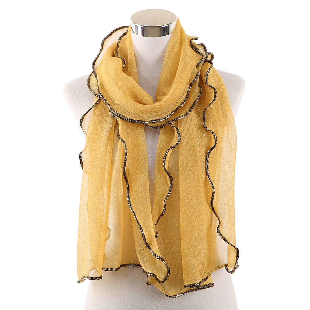 Winfox Fashion Black Yellow Glitter Shawls Scarves Stole For Ladies Women Church India Muslim Hijab Scarf in Women 39 s Scarves from Apparel Accessories