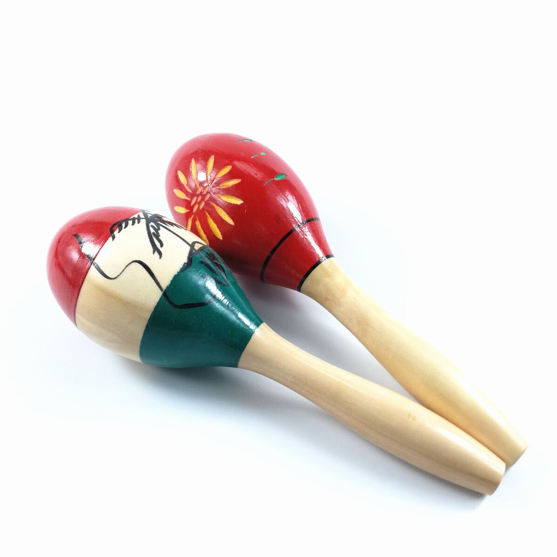 Colorful Wooden Large Maracas Rumba Shakers Rattles Sand Hammer Percussion Instrument Musical Toy For Kid Children Party Games