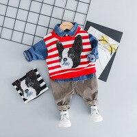 Newborn Clothes 2019 Spring Children Three piece Stripe Puppy Design Lovely Children's Clothing Han Edition Cartoon Suit Baby