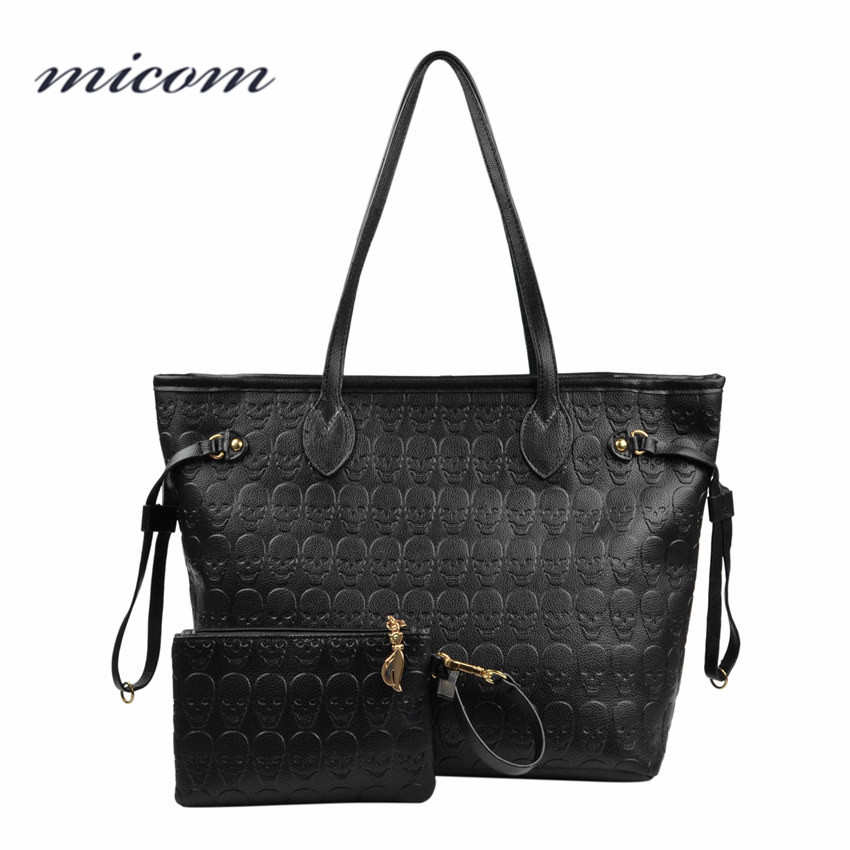 Micom Women Shoulder Bags Printed Skull Handbags Fashion Pu Leather Ladies Large Capacity Tote Bag Female