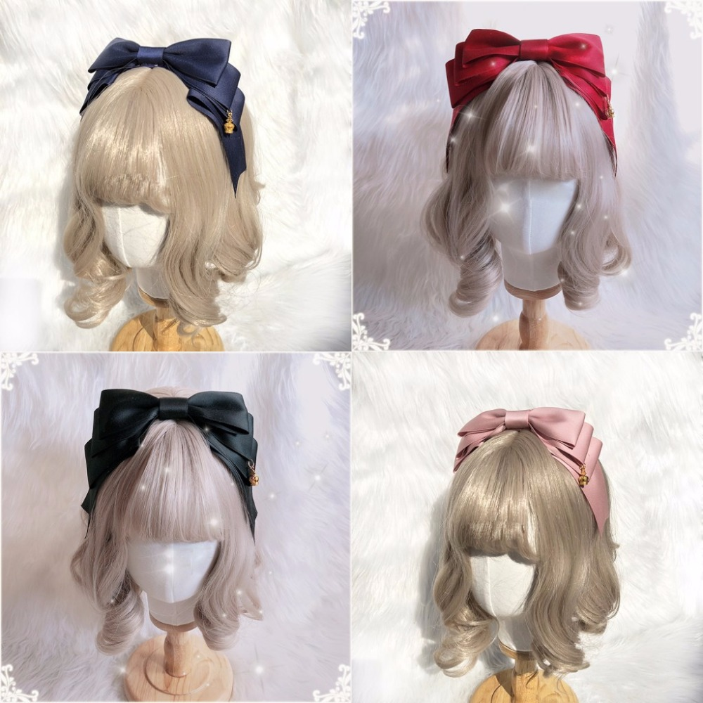 Handmade Korean Lolita Big Bow Daily KC Headband   Headwear   Crown Pendant Trim Hair Band Cosplay Women's Hair Accessories 9Colors