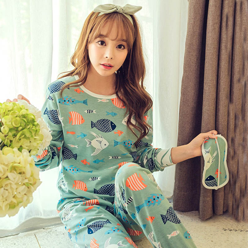 Spring Autumn Goggles Pijama Women's Pajama Sets Women Pajamas Pajamas Girls Overnight Women Plus Size 2XL Pyjama