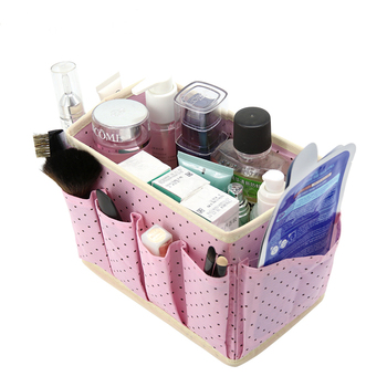 Washable Makeup Organizer with Cute Dots Design and Storage Bins made of Non Woven to Organize Beauty Essentials Neatly in Place