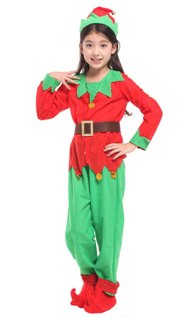 Girl Elf Cosplay Costume Kids Santa Claus Costume Family School Christmas Party Stage Performance Dress For Children