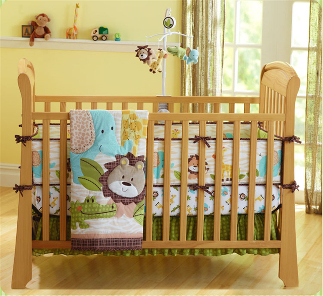 Moonpalace 4 Piece Nursery Crib Bedding Set Jungle Themed Bedding For Baby Lion Zebra Hippo Elephant African Wild Cute Animals