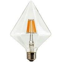 Бесплатная доставка DHL, Алмазный привело Винтаж лампа накаливания, 6 Вт, 110 В 220vac, теплый желтый (2200 К), E26 E27 Средний База, декоративные Освещени...