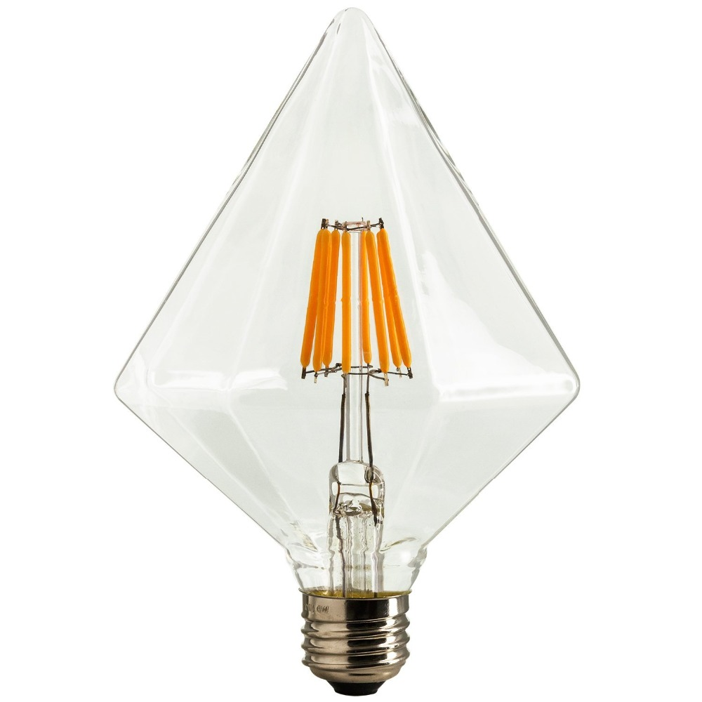 DHL Free,Diamond LED Vintage Filament Bulb,6W,110V 220VAC,Warm Yellow(2200K),E26 E27 Medium Base,Decorative Lighting,Dimmable