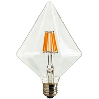 DHL Free,Diamond LED Vintage Filament Bulb,6W,110V 220VAC,Warm Yellow(2200K),E26 E27 Medium Base,Decorative Lighting,Dimmable