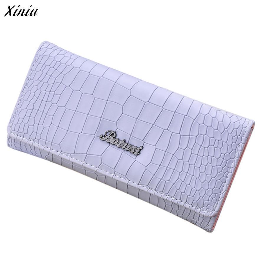 Xiniu wallet women Purse Solid Color Stone Pattern Slim Long Wallet Card Holders Hasp Zipper Handbag carteira#0