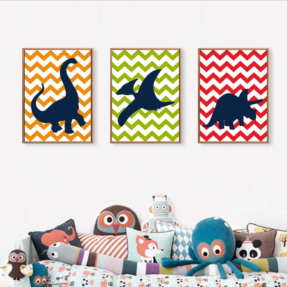 Cartoon Dinosaur Silhouette Chevron Canvas Paintings Nursery Wall Art Picture Party For Kids Boy Bedroom Home Decor Painting Calligraphy Aliexpress