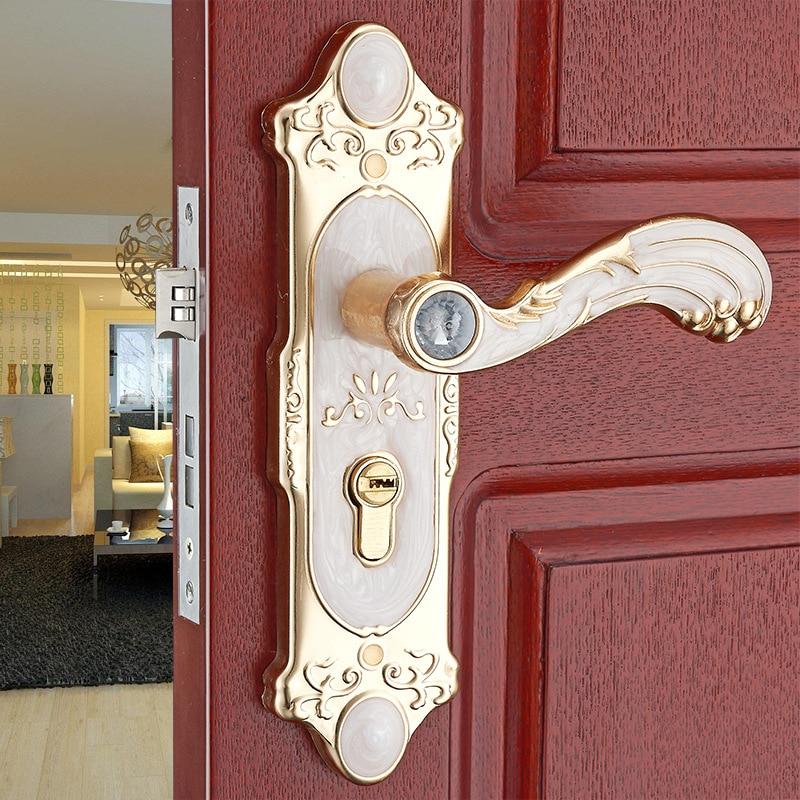 Indoor handle lock Bedroom door handle European antique wood door handle hardware locks цена 2017