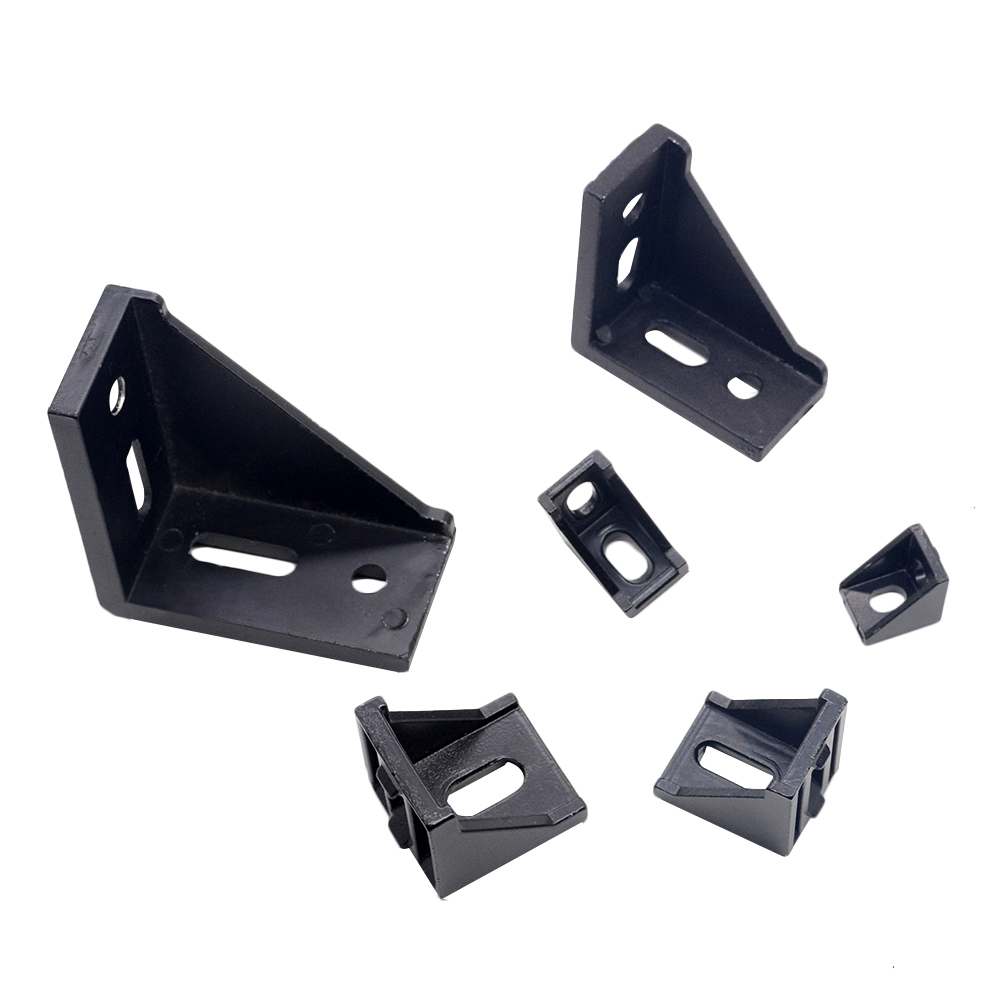 Aluminum 2020 Corner Bracket Fittings Corner Angle Bracket Connector 2028 3030 4040 Aluminium Profile Black Color CNC Router