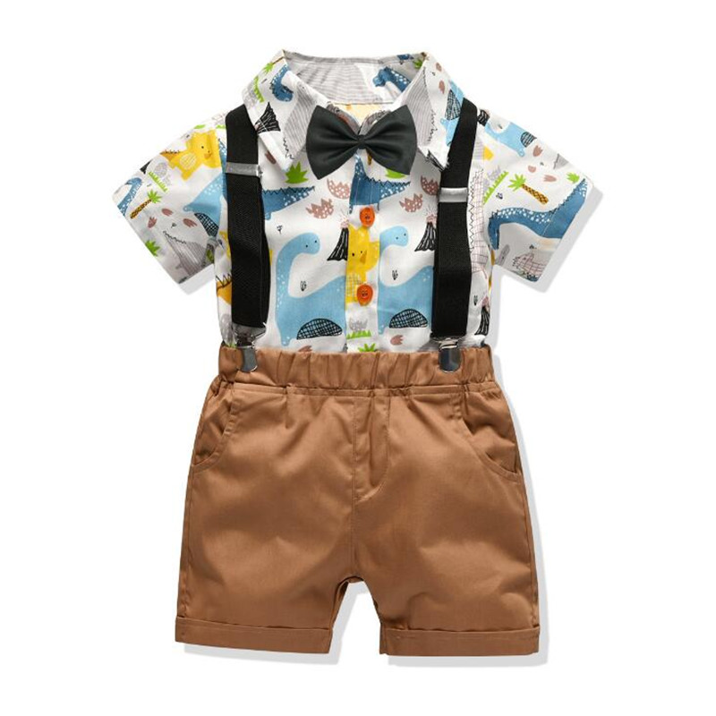 Buy Boys' Kids Summer Cotton Cartoon Print Short Sleeve Shirt Shorts Two-Piece Set Infant Outfit Baby Boy Clothes Suit for only 28.46 USD