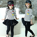 Meninas T-camisa-saia Manga Longa Crianças Desgaste Do Outono Nova Princesa Casa Criança Tarja de Duas Peças das Crianças Conjuntos de vestuário Terno Preto